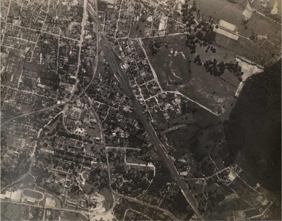 Figure 1: Aerial View of UVa, Pre-1940. U.Va. prints and photographs file, Accession #RG-30/1/10.011. Special Collections University of Virginia Library, Charlottesville, VA.