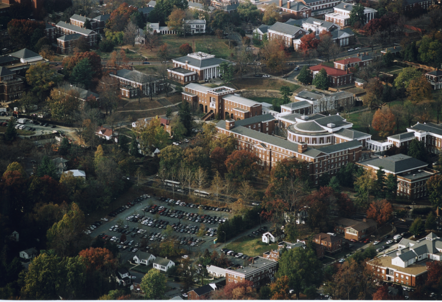 Figure 2: Circa 2000: Parking Lot that previously existed on site of South Lawn Commons, Courtesy Special Collections University of Virginia Library, Charlottesville, VA.