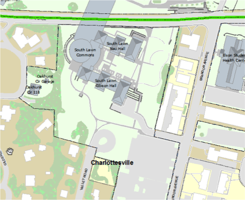 Figure 4: Map of South Lawn Commons and adjacent streets and neighborhood, courtesy Special Collections University of Virginia Library, Charlottesville, VA.