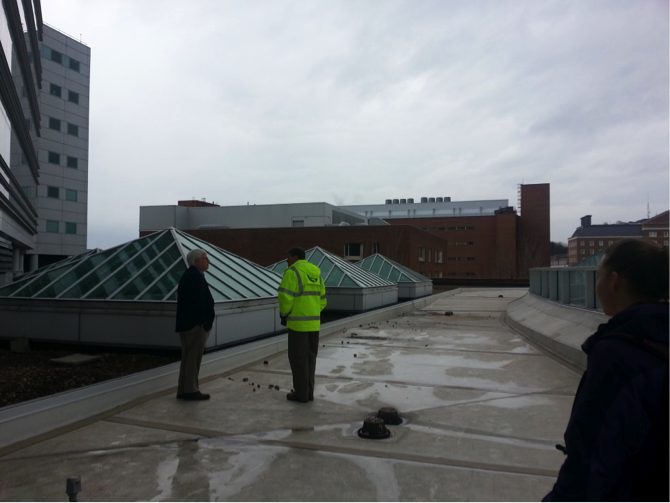 Our tour on the non-green Hospital rooftop. Photo by Radhika Pavgi.