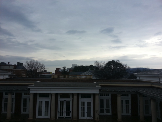 Looking out on to the tray-lined green rooftop of Rouss/Robertson Hall. Photo by Radhika Pavgi.