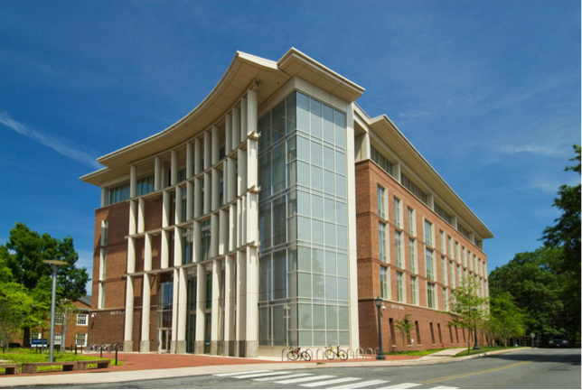 Figure 1 Rice Hall, a UVA engineering school building was built in 2011. This picture displays the building's large glass outcropping that could be detrimental to birds. Forty percent of the surface area of the building is glass.